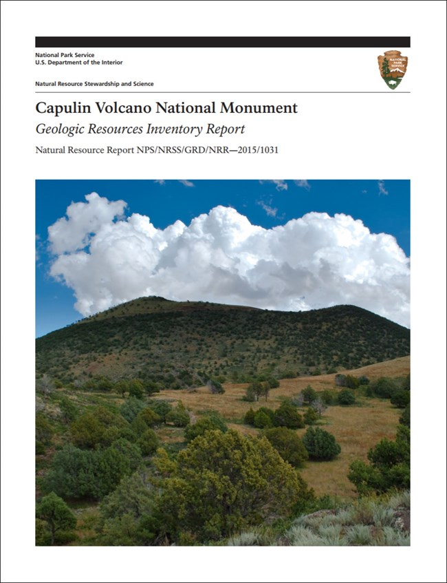 capulin volcano gri report cover with image of cone