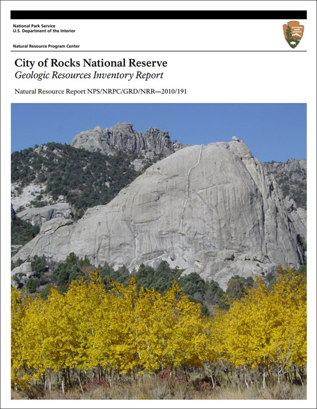 city of rocks gri report cover with image of granite outcrops