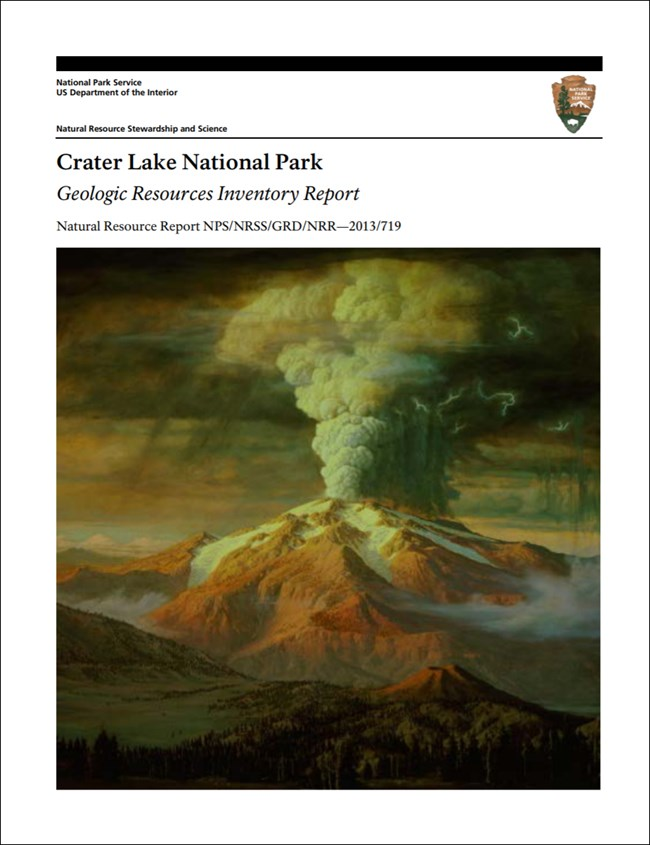 crater lake report cover with volocano image