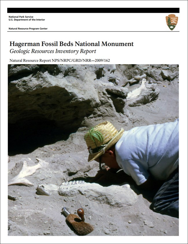 hagerman fossil beds report cover with paleontologist image