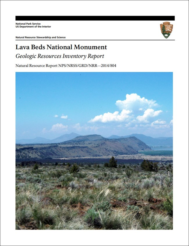 image of lava beds gri report cover with photo of volcanic landscape