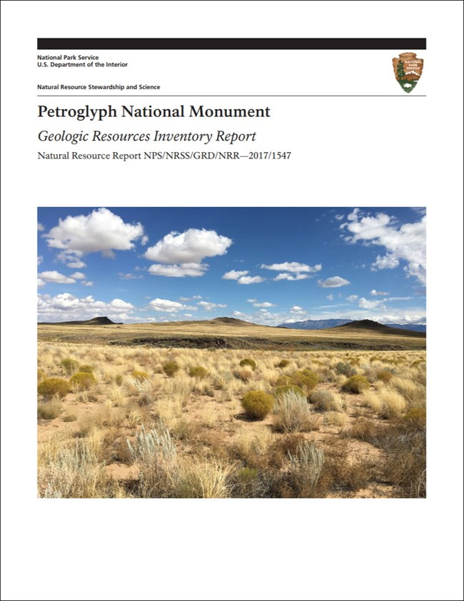 image of petrogllyph gri report cover with photo of cinder cones