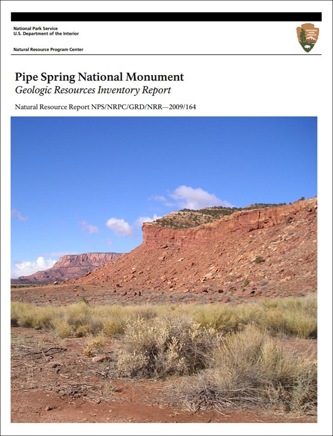 image of pipe spring gri report cover with photo of red rock slope