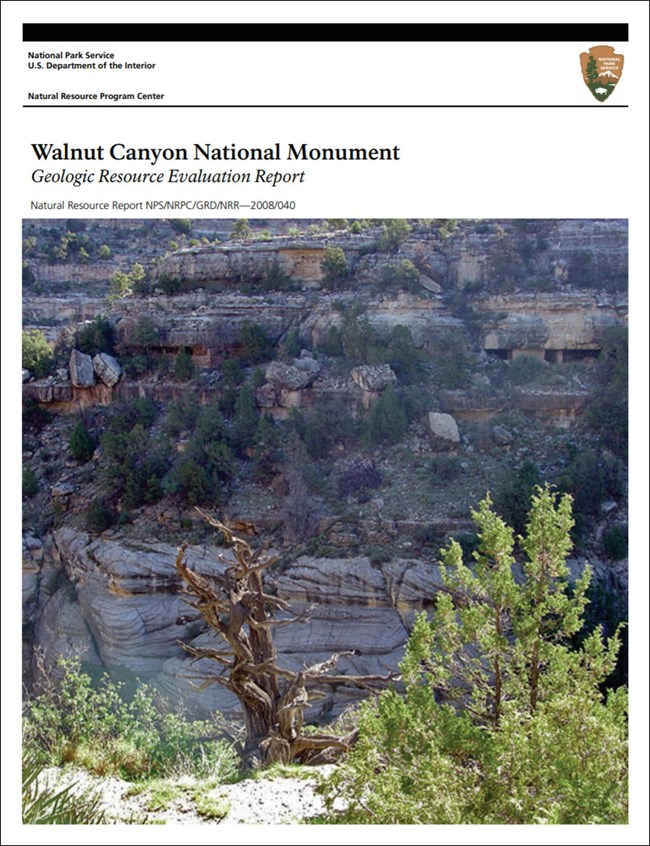 image of walnut canyon gri report cover with photo of cliff dwellings