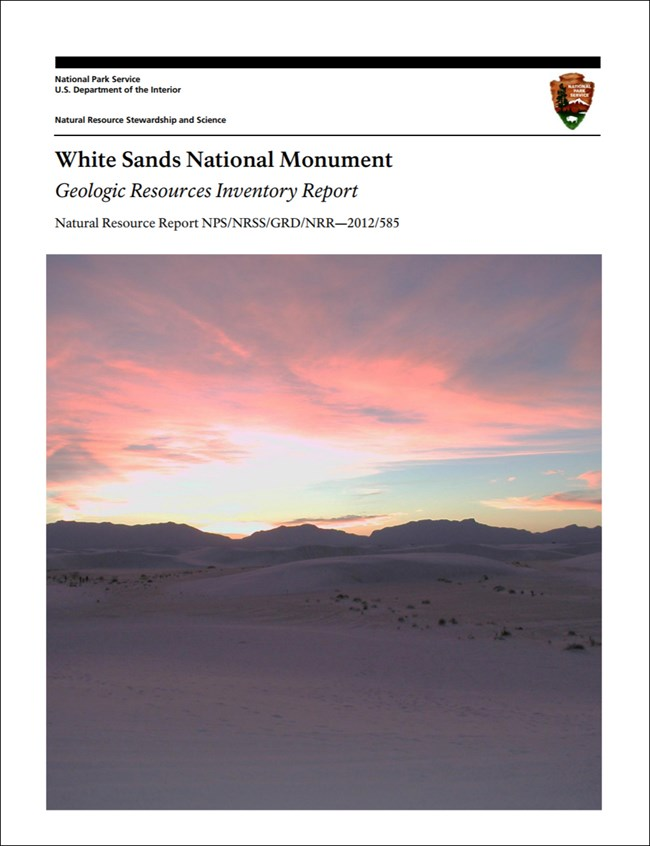 image of white sands gri report cover with dunes photo