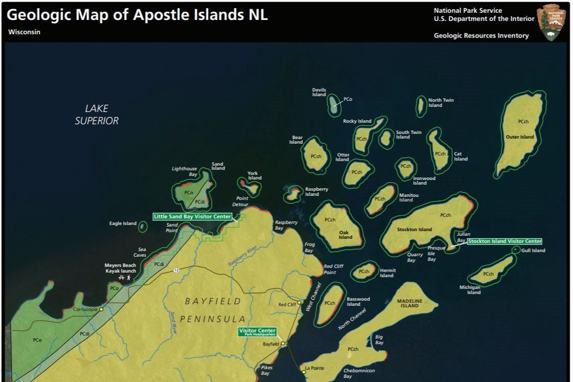 image of apostle islands geologic map