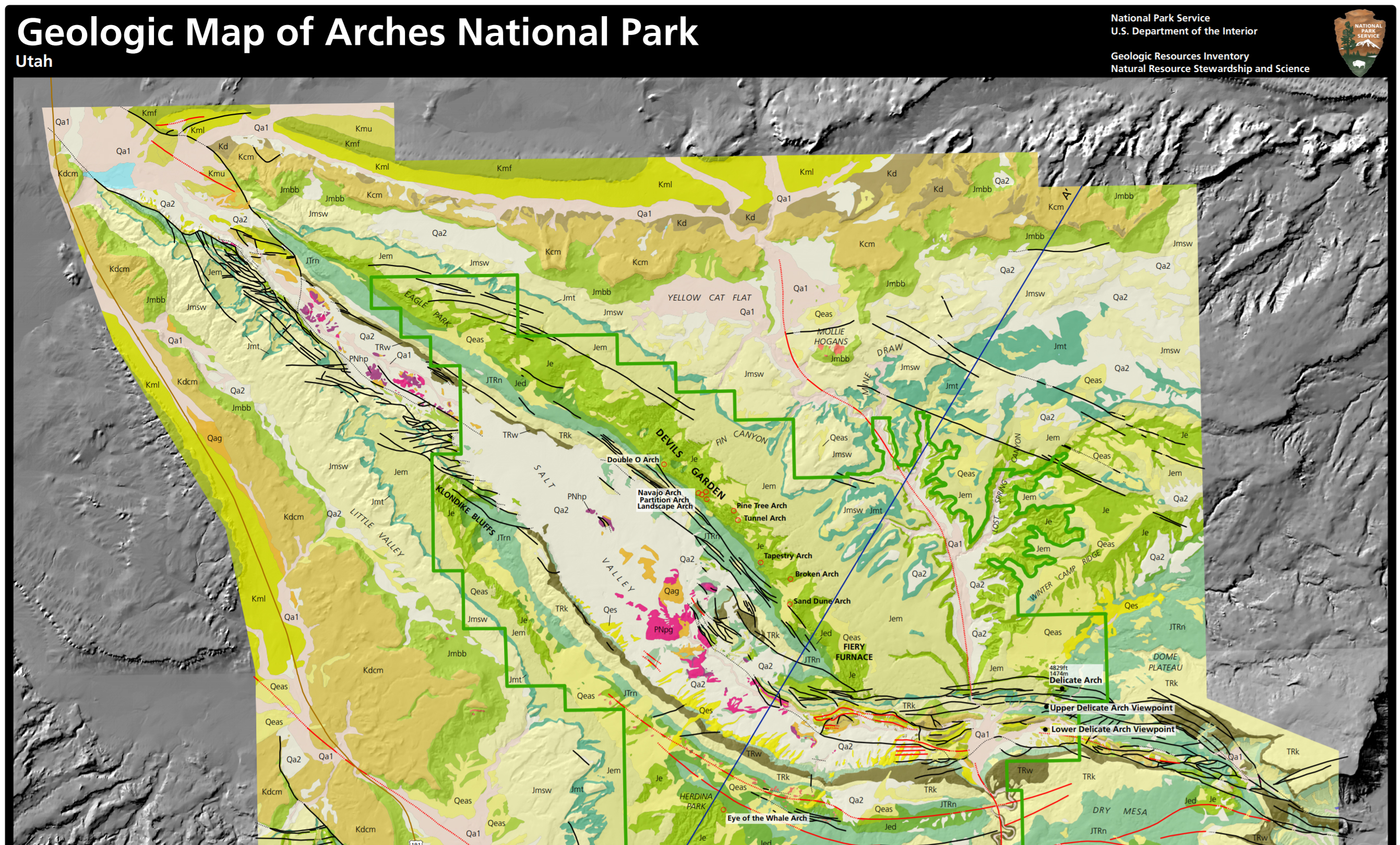 NPS Geodiversity Atlas—Arches National Park, Utah (U.S. ... on amistad national recreation area map, death valley map, chamizal national memorial map, zion national park trail map, redwood national and state parks map, denali national park and preserve map, city of rocks national reserve map, moab map, monument valley map, devils garden map, antelope canyon map, lake clark national park and preserve map, bering land bridge national preserve map, hawaii volcanoes national park map, grand canyon map, canyonlands national park road map, arizona map, bryce canyon map, sequoia national park map, national park of american samoa map,