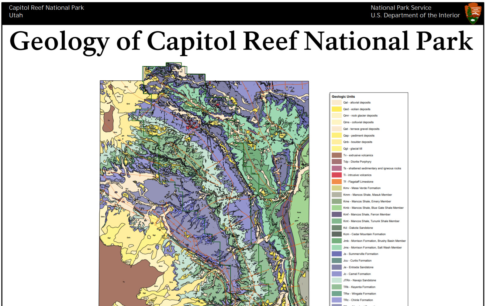 NPS Geodiversity Atlas—Capitol Reef National Park, Utah ... on yucca house national monument map, roosevelt park north dakota map, little bighorn battlefield national monument map, sequoia national park map, bryce canyon map, lake clark national park and preserve map, valley of fire state park map, kings canyon national park map, dead horse point state park map, hickman bridge capitol reef map, organ pipe cactus national monument map, lake powell map, monument valley map, chaco culture national historical park map, denali national park and preserve map, zion park shuttle map, u.s. capitol map, hawaii volcanoes national park map, canyon de chelly national monument map, canada national parks map,