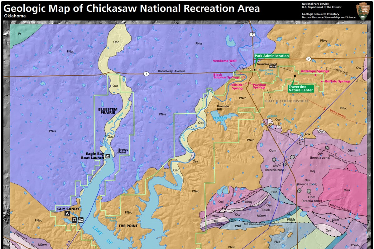 Nps geodiversity atlaschickasaw national recreation area oklahoma link to chickasaw geologic map publicscrutiny