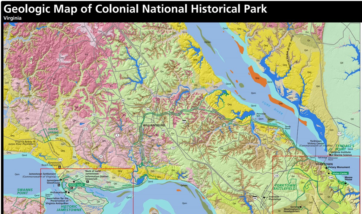 link to colonial national historical park geologic map