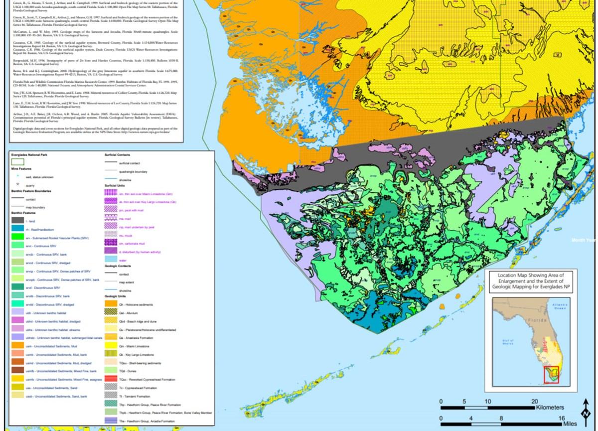 Florida Geography Map.Nps Geodiversity Atlas Everglades National Park Florida U S
