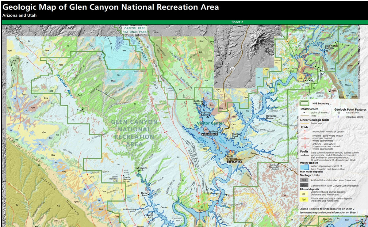 Map Of Arizona Utah.Nps Geodiversity Atlas Glen Canyon National Recreation Area Arizona