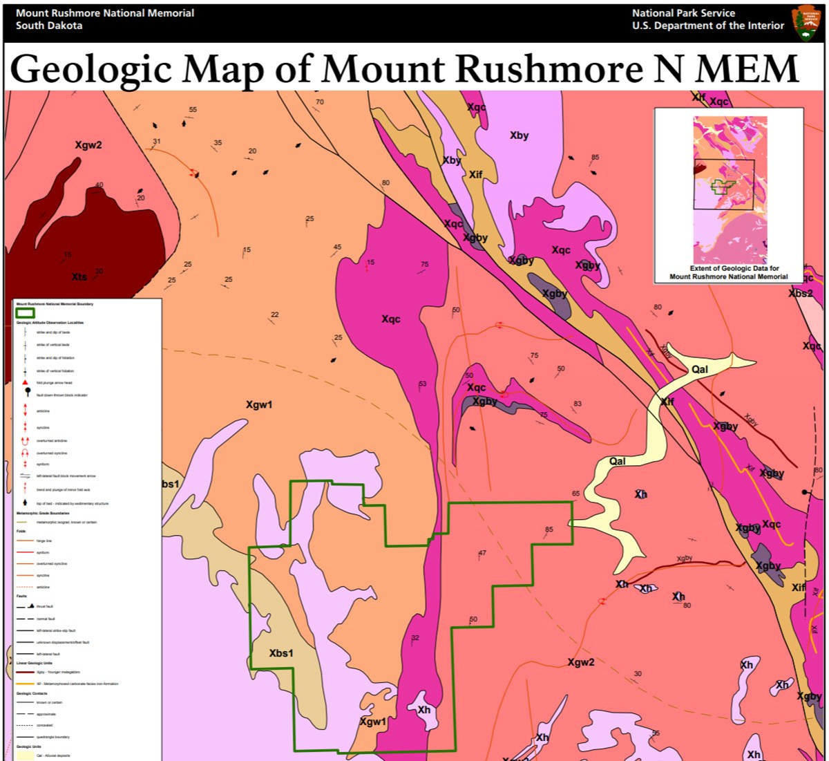 image of mount rushmore gri geologic map