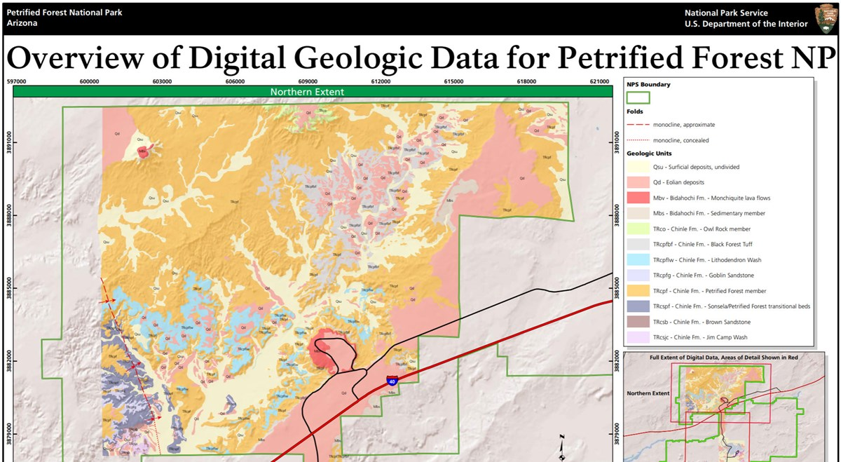image of petrified forest gri geologic map