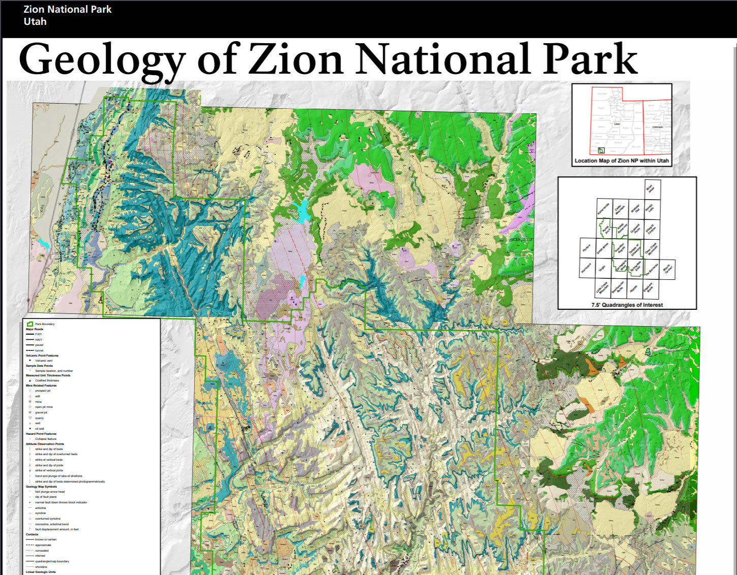 NPS Geodiversity Atlas—Zion National Park, Utah (U.S. National Park on redwood national park map, symbol national park on map, angels landing trail map, acadia national park on a map, bryce canyon np map, canyonlands national park road map, city of rocks national reserve map, bryce canyon road map, sequoia national park map, grand canyon map, grand staircase escalante national monument map, zion subway map, salt lake city map, death valley map, monument valley map, st. george map, antelope canyon map, denali national park and preserve map, arches national park topographic map, lake tahoe map,