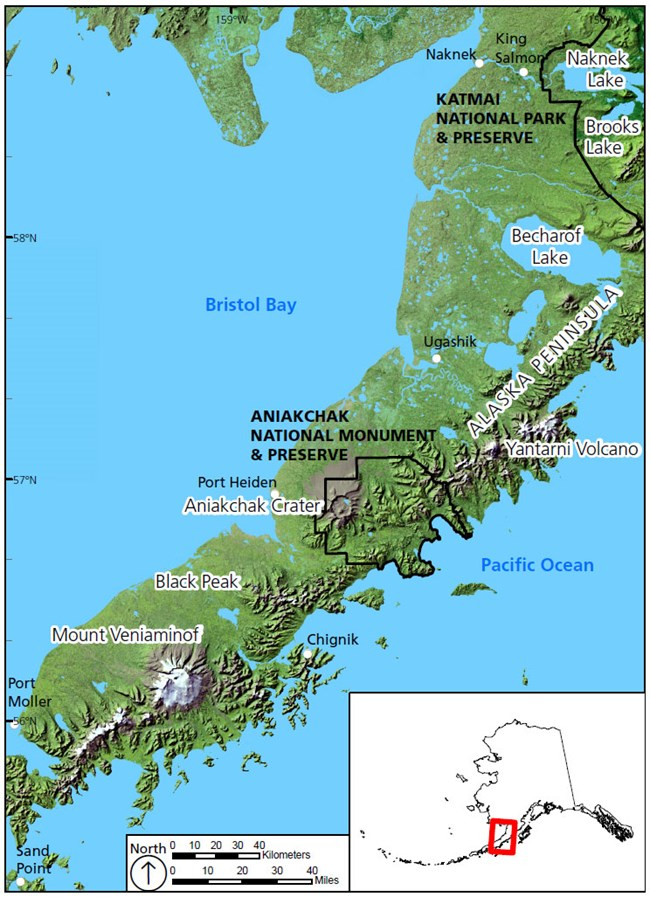 map of park location on the alaska pennisula