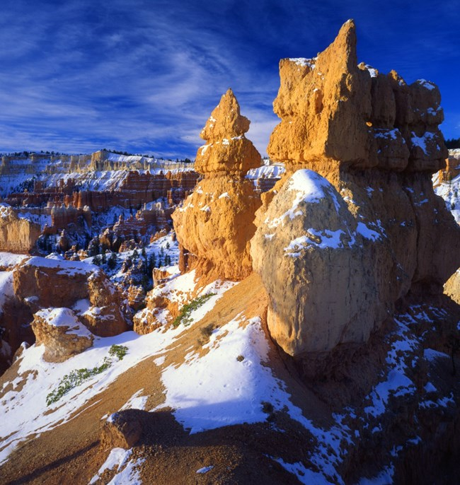 hoodoo with snow