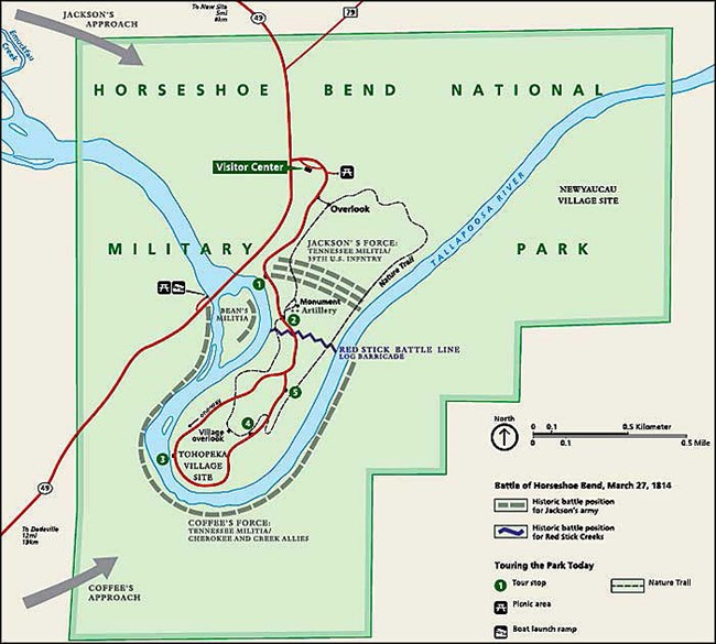 map of park features and military history