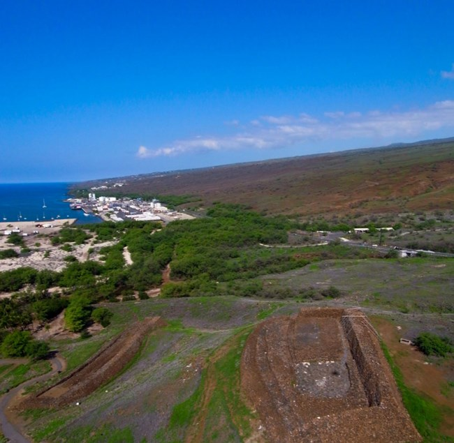 Aerial View of Pu'ukoholā Heiau and Mailekini Heiau