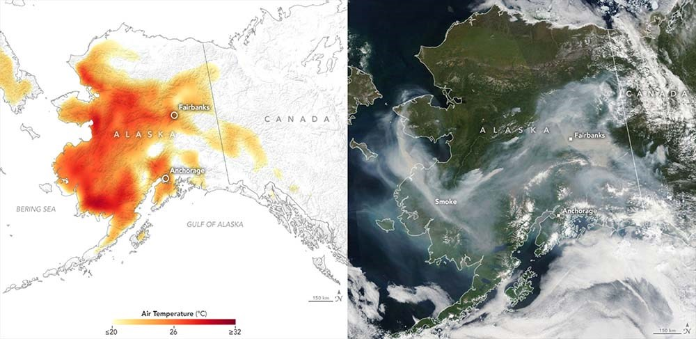 Two images side by side. On the left a map of Alaska showing warmer than normal temperatures and on the right, a satellite image of smoke covering much of Alaska.
