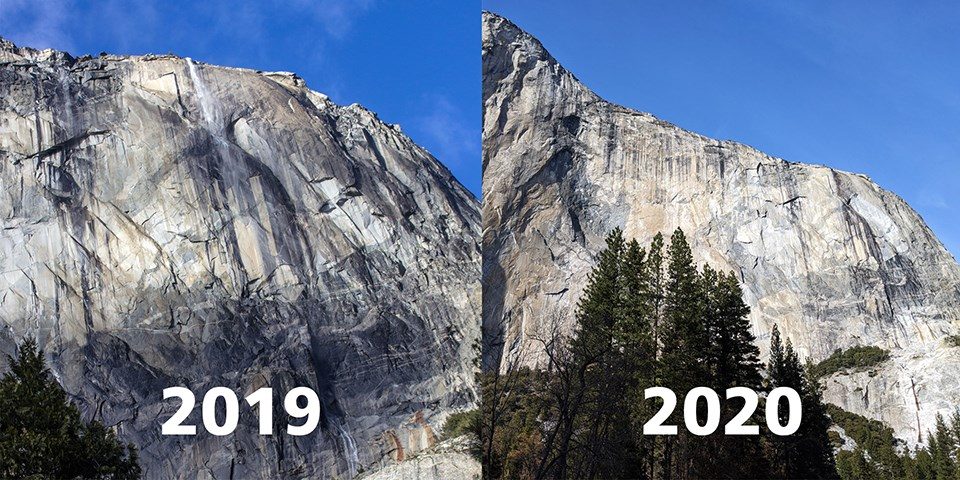 Two photos show Horsetail Fall flowing in 2019 and nearly dry in 2020