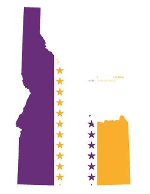 State of Idaho depicted in purple, white, and gold (colors of the National Woman's Party suffrage flag) – indicating Idaho was one of the original 36 states to ratify the 19th Amendment. CC0