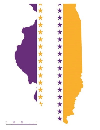 State of Illinois depicted in purple, white, and gold (colors of the National Woman's Party suffrage flag) – indicating Illinois was one of the original 36 states to ratify the 19th Amendment. CC0