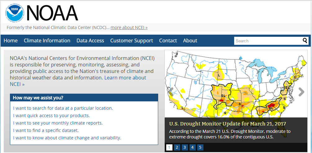 Screenshot of NOAA's National Centers for Environmental Information website