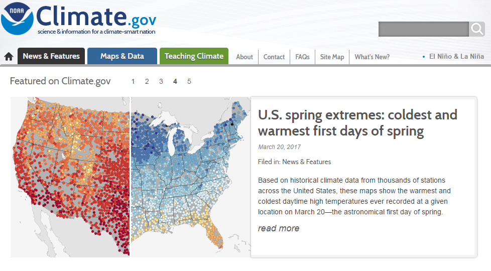 Screenshot of NOAA's Climate.gov website