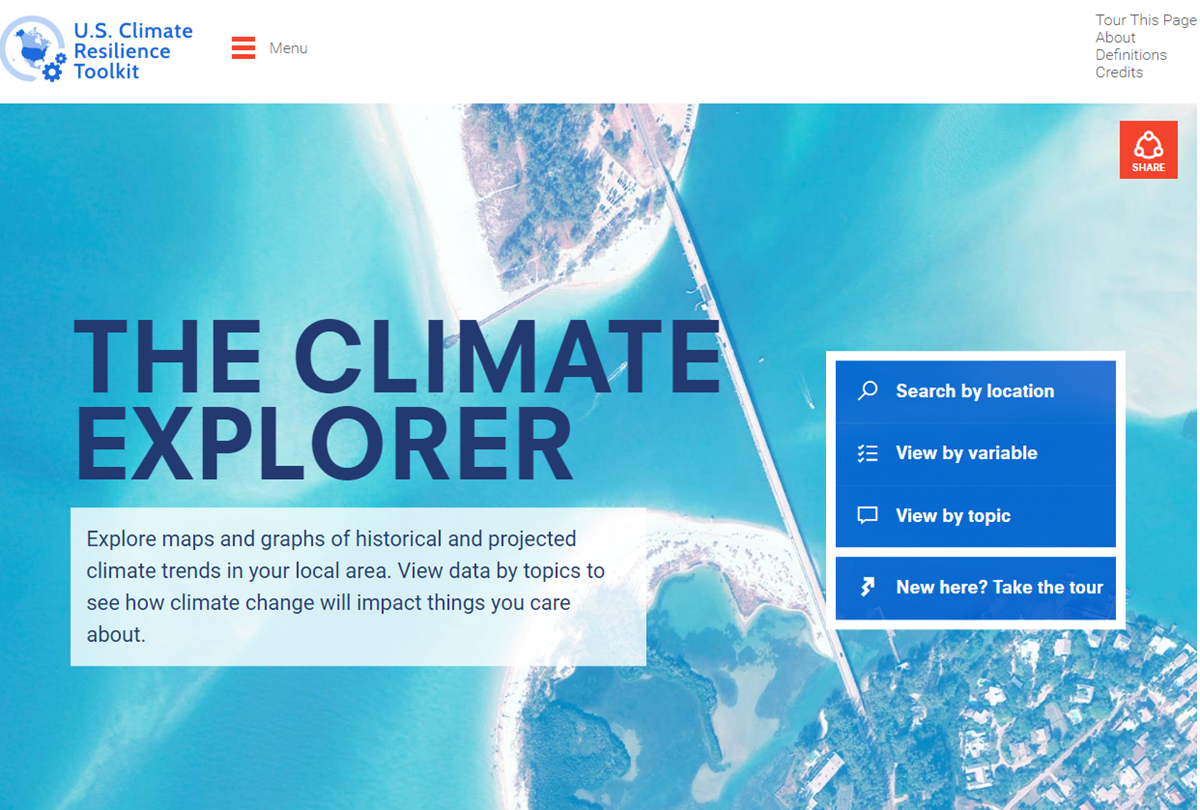 Screenshot of The Climate Explorer website