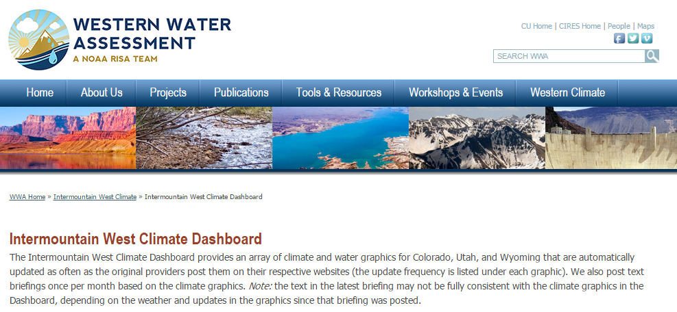 Screenshot of the Intermountain West Climate Dashboard website