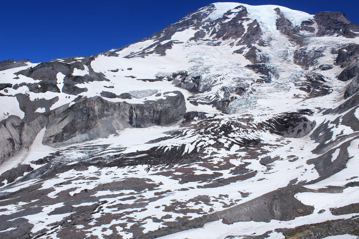 View of upper Nisqually Glacier on a sunny summer day
