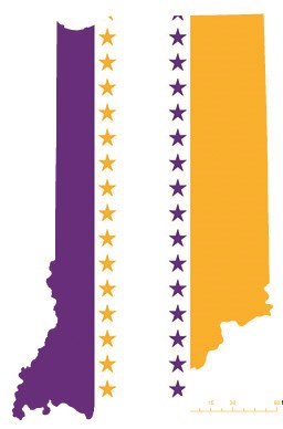 Indiana state overlaid with the purple, white, and gold suffrage flag