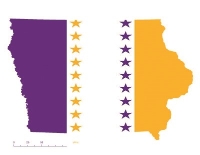 Iowa state overlaid with the purple, white, and gold suffrage flag