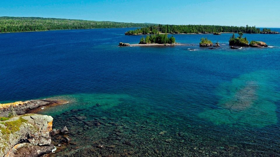 View of several small islands off the shore of Isle Royale National Park