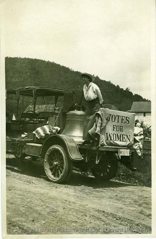 Justice Bell on the back of a truck. Courtesy Schlesinger Library