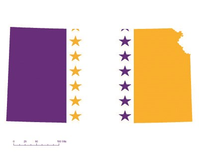 Kansas state overlaid with the purple, white, and gold suffrage flag