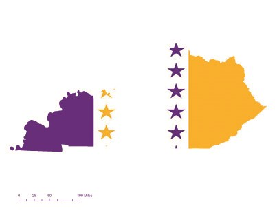 State of Kentucky overlaid with the purple, white, and gold suffrage flag