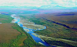 Kugururok River with south slope of Brooks Range in background, Noatak National Preserve. Series of vegetated river terraces to north of Kugururok River are study sites.