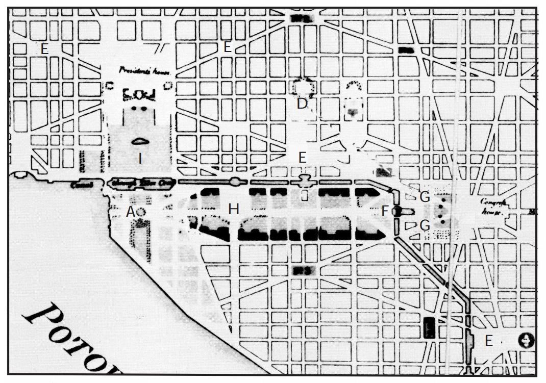 Old map of original layout of Washington, DC. Library of Congress.