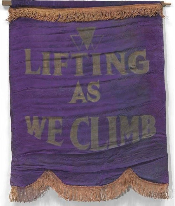 Banner with motto of Oklahoma Federation of Colored Women's Clubs. Collection of the Smithsonian National Museum of African American History and Culture.