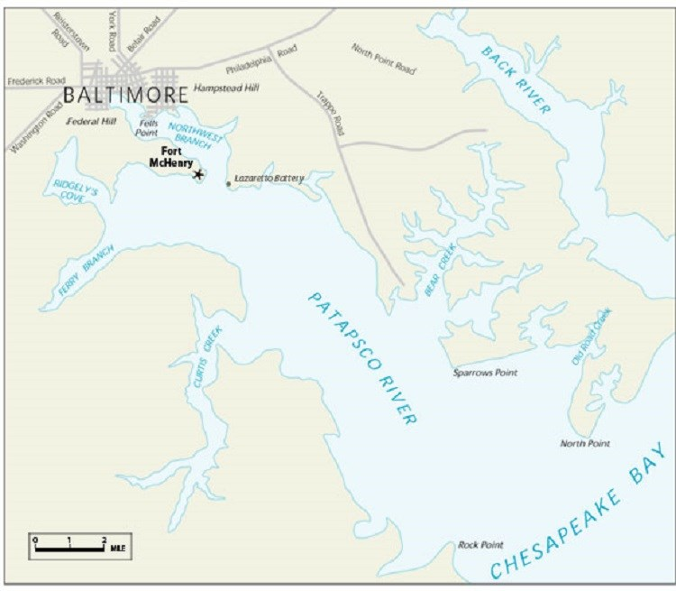 Map of Baltimore and harbor area, 1814. National Park Service.