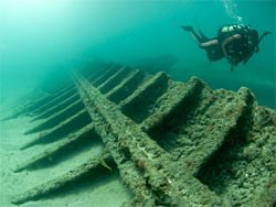 Diver at Lofthus shipwreck