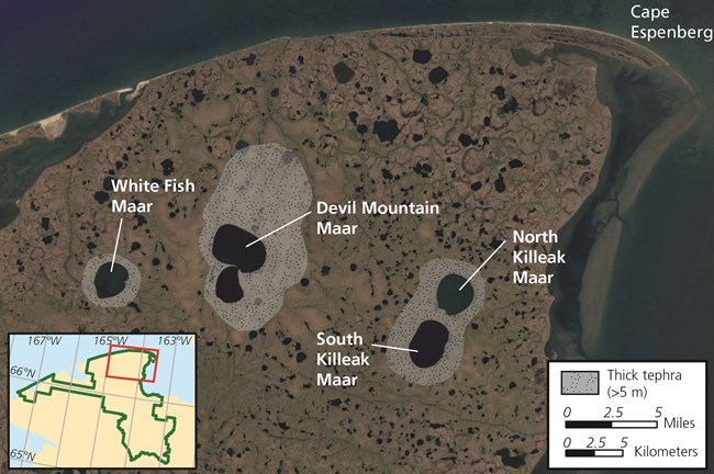 A graphic image of the location of 4 maar lakes near the northern boundary of the park.