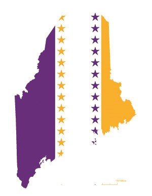 State of Maine overlaid with the purple, white, and gold suffrage flag