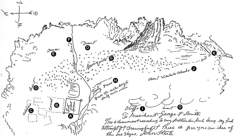 Map of Nevada desert and fort of Forty-Niners.
