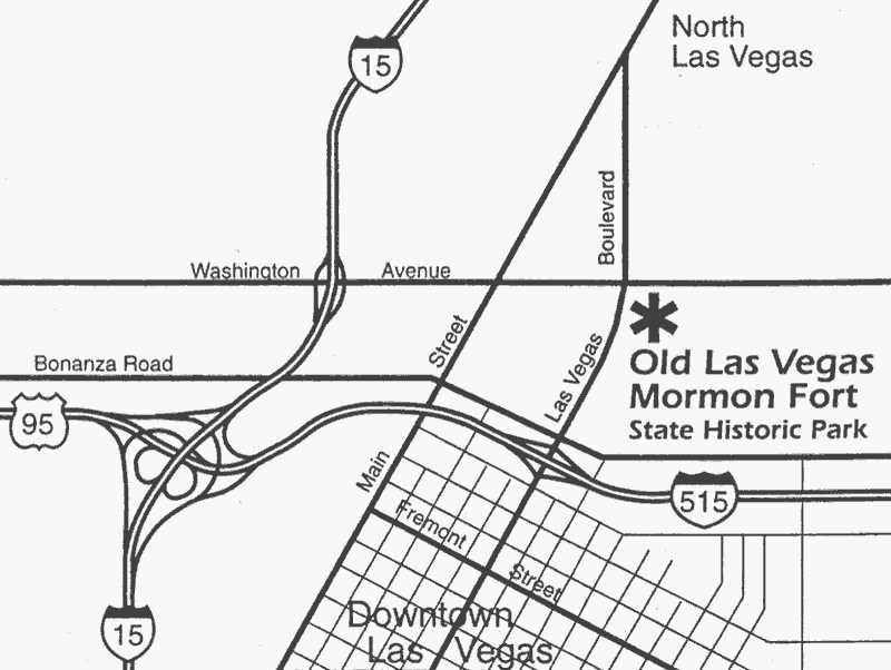 Map of the Mormon Fort and its location in modern Las Vegas.