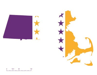 Massachusetts overlaid with the purple, white, and gold suffrage flag