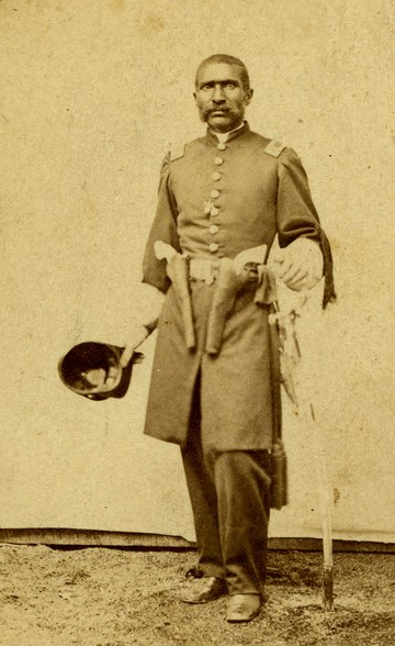 black man in uniform with a saber