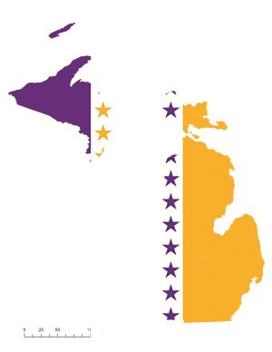 Michigan state overlaid with the purple, white, gold suffrage flag